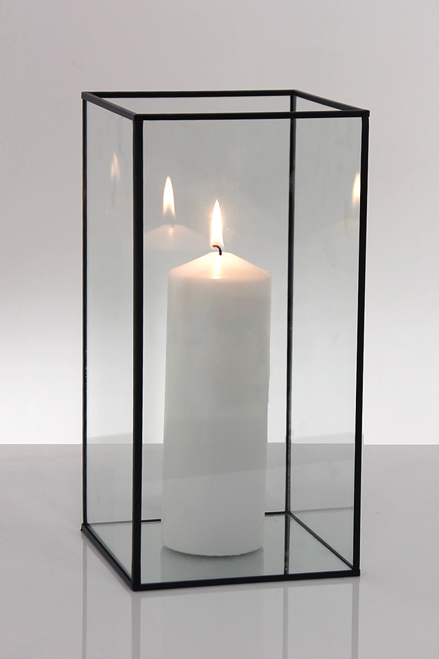 Metal Frame Glass Candle Box 150 X 150 X 300mmh Holstens