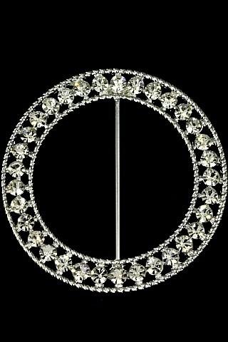 Round Fancy Sash Buckle Diamante 63mmd Holstens